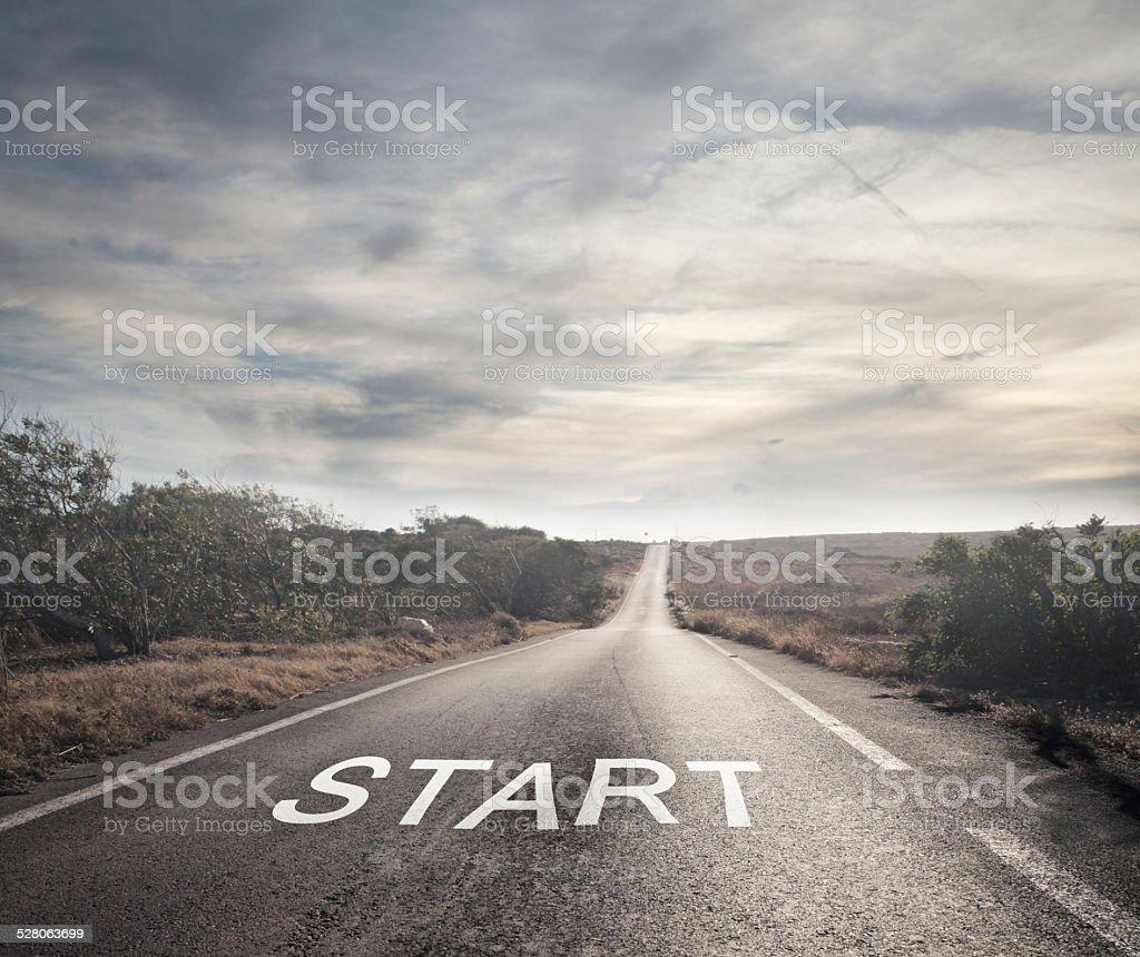 Solitary road stock photo