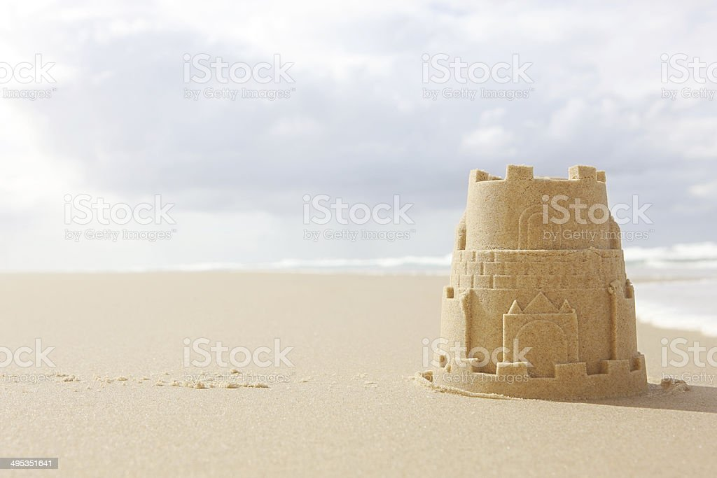 Solitary Sandcastle stock photo