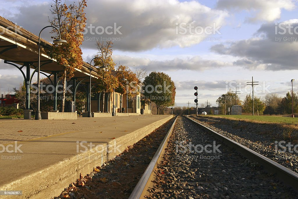 Solitary train station in early morning royalty-free stock photo