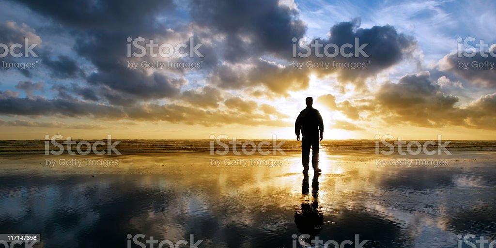 XL solitude beach silhouette stock photo