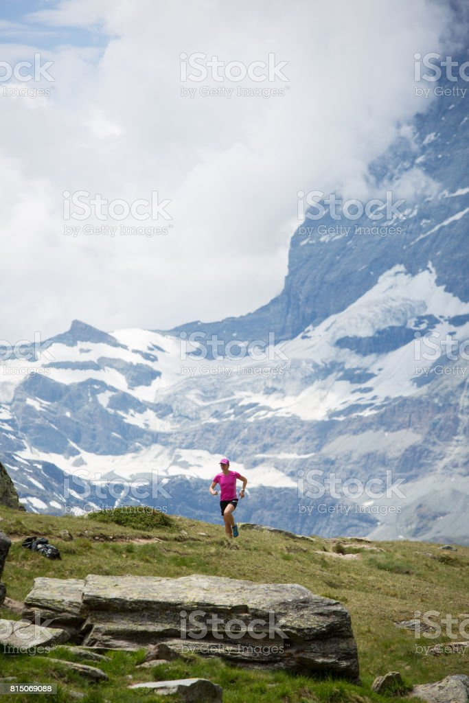 Solitude out running stock photo