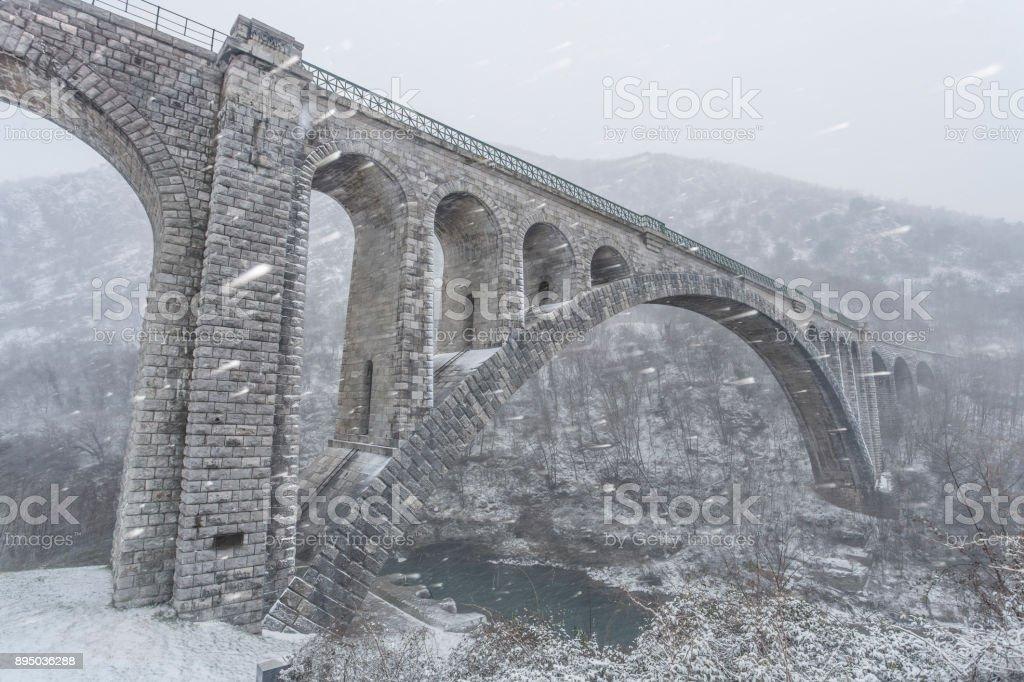 Solkan Bridge in Winter stock photo