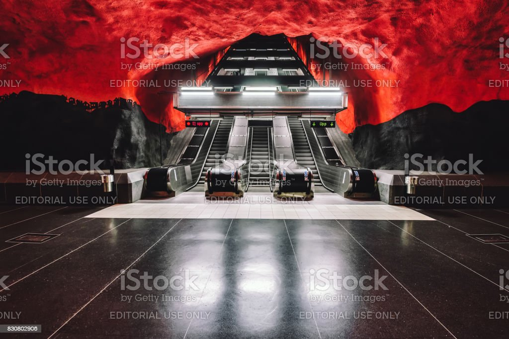 Solna Centrum Metro Station in Stockholm stock photo