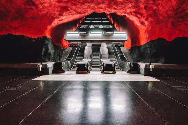Solna Centrum Metro Station in Stockholm stock photo