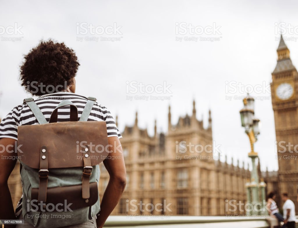 solo backpacker in london stock photo