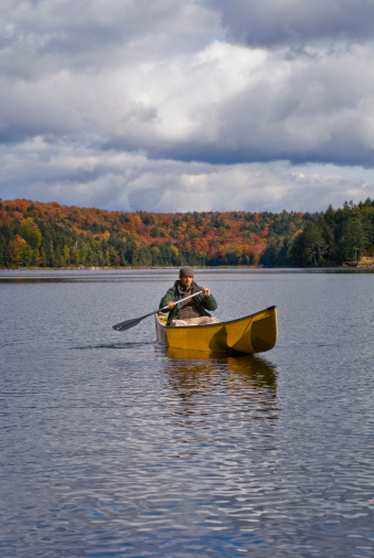 Solo Canoe Trip Stock Photo - Download Image Now