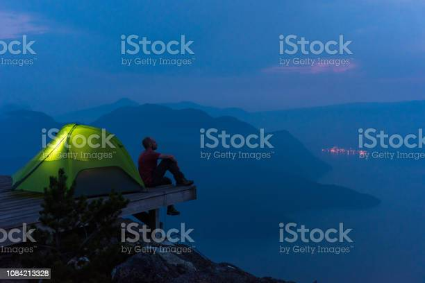 Solo Hiking Adventure In The Mountains Stock Photo - Download Image Now