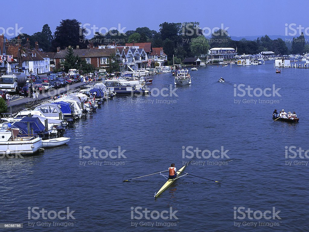 Solo rower on River Thames at Henley in Oxfordshire. England stock photo
