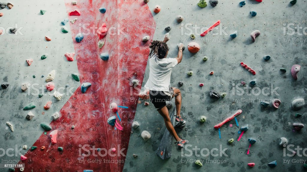 Solo Session At The Climbing Centre stock photo