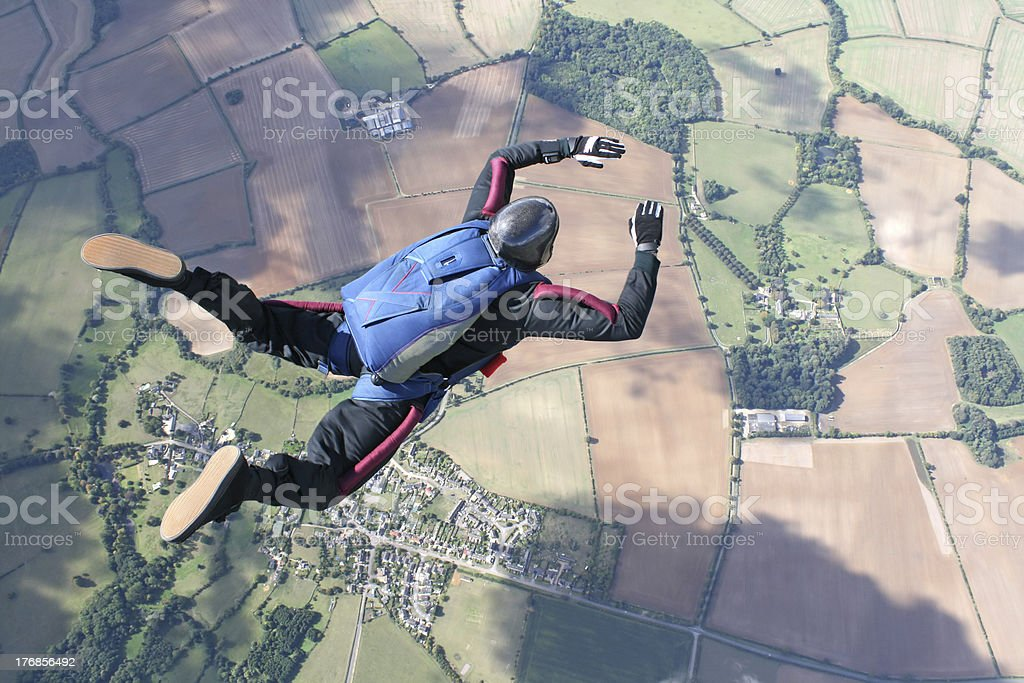 Solo Skydiver in freefall stock photo