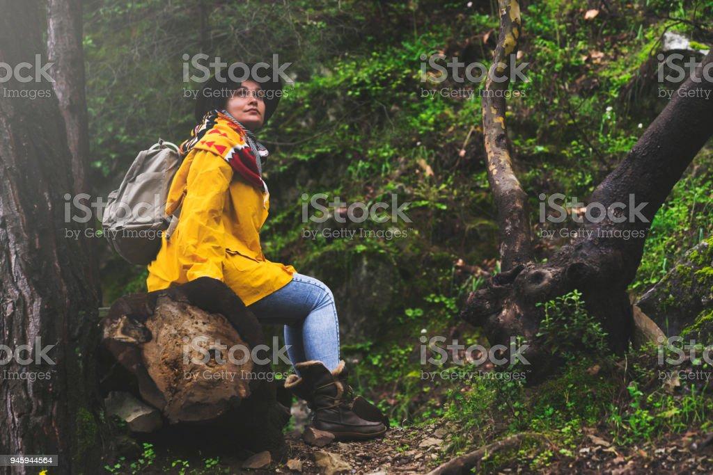 Soloreisende Wandern Im Wald Auf Einem Baumstamm Sitzend