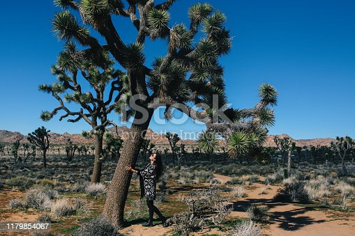 Young traveler woman, wearing vintage boho clothing, enjoying freedom and the beautiful nature in the Joshua Tree parts of the Mojave desert.