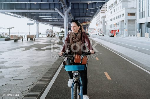 Solo traveler riding a bicycle in New York City