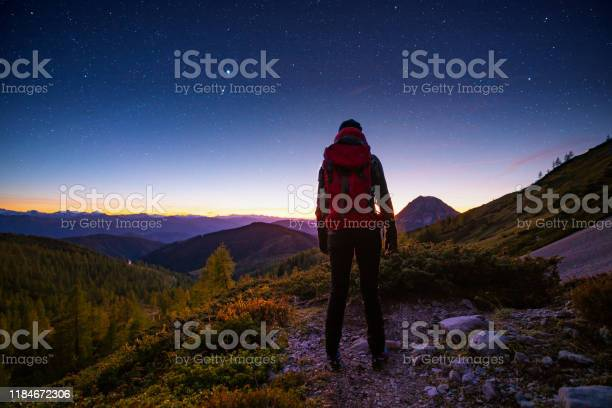 Photo of solo traveller high up in the mountains with starry heaven