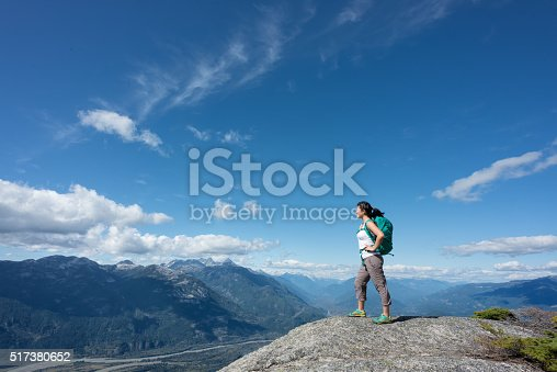 istock Solo Woman Hiker with Backpack Enjoying View from Mountain Summit 517380652