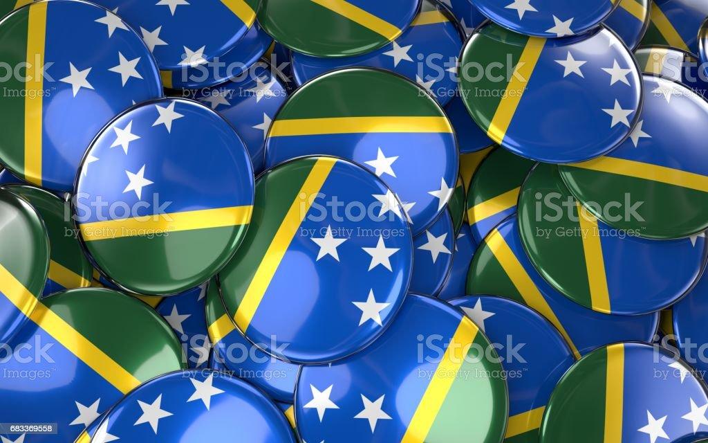 Solomon Islands Badges Background - Pile of Solomon Flag Buttons. stock photo