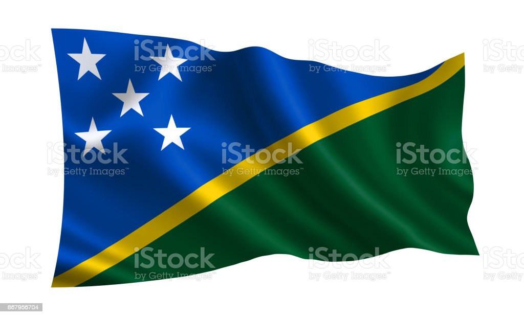 Solomon Islands flag. A series of 'Flags of the world.'  ( The country - Solomon Islands flag ) stock photo