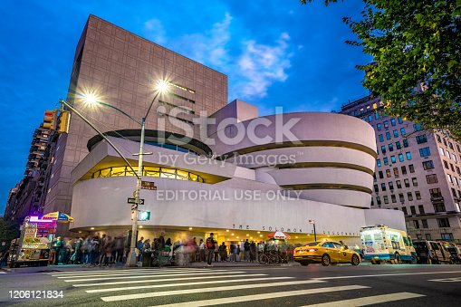 This is the Solomon R. Guggenheim Museum, a famous modern art museum in Manhattan on October 12, 2019 in New York