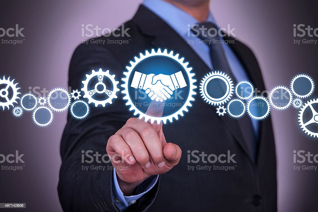 Solution Business Agreement on Virtual Screen stock photo