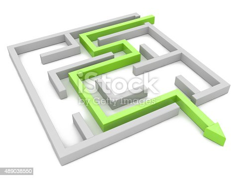 Solution concept: green arrow path showing labyrinths end, way out in the design of access to information relating to the business