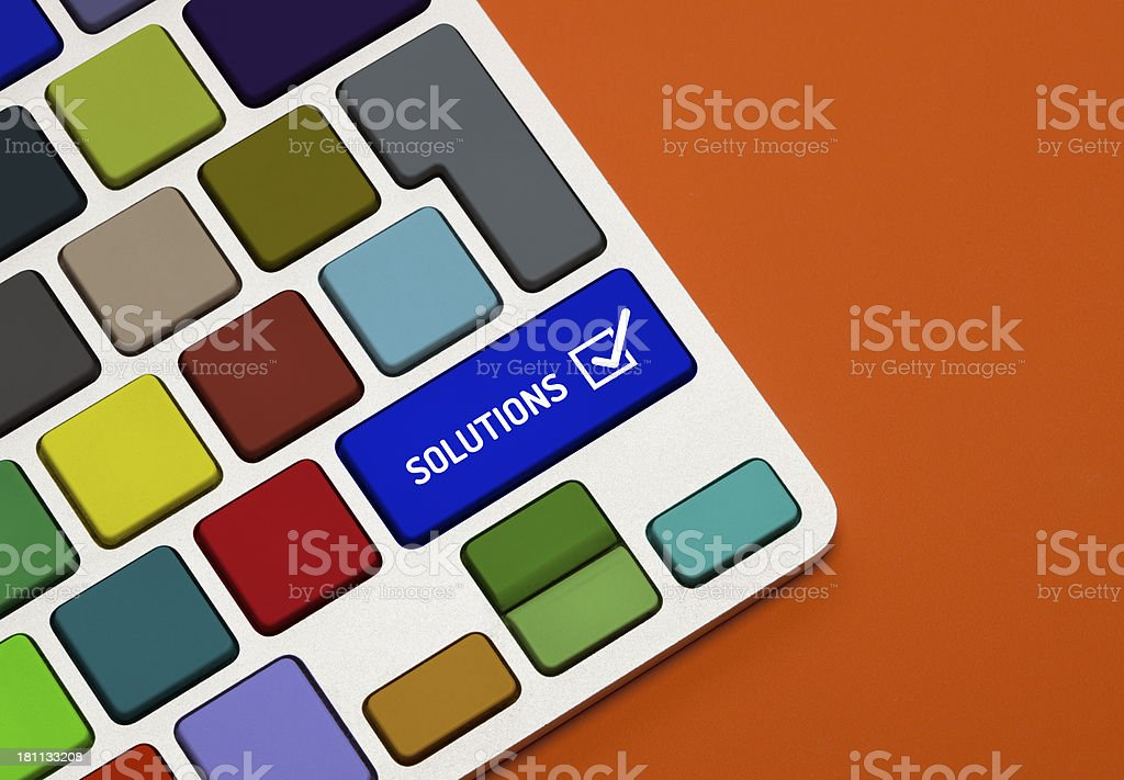 Solution Concept on Colorful Keyboard royalty-free stock photo