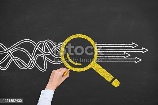 istock Solution Concept with Magnifying Glass on Chalkboard Background 1151852430