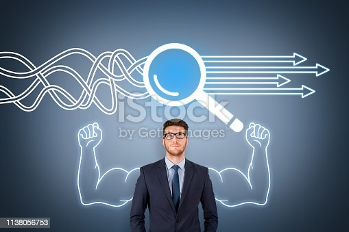istock Solution Concept with Magnifying Glass on Screen 1138056753
