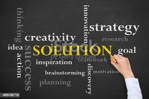 istock Solution Concept Word on Blackboard 489436718