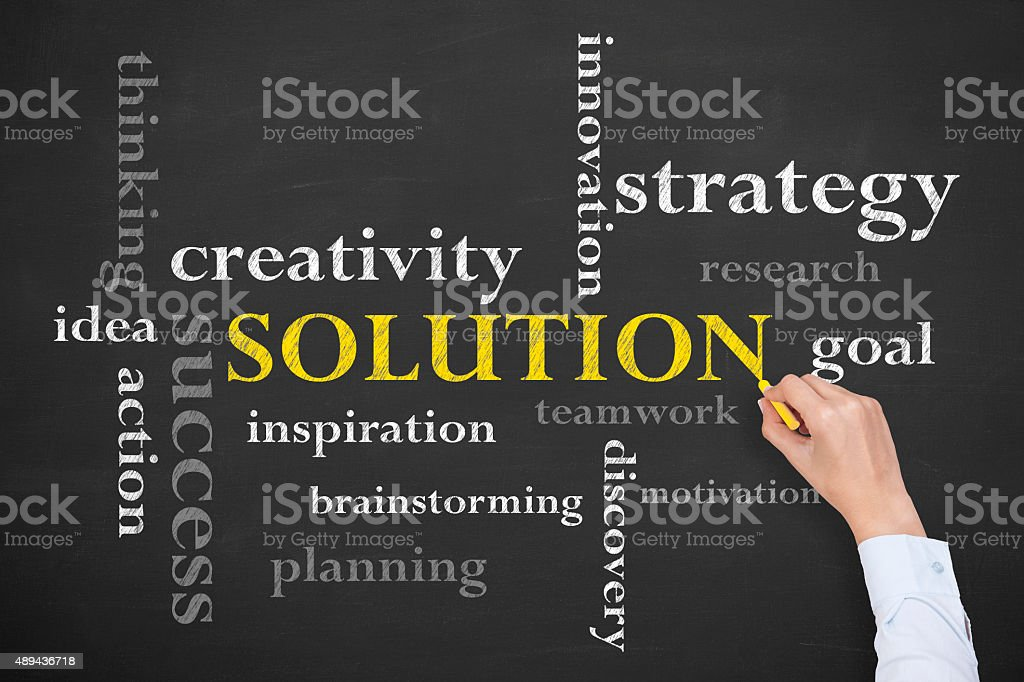 Solution Concept Word on Blackboard stock photo