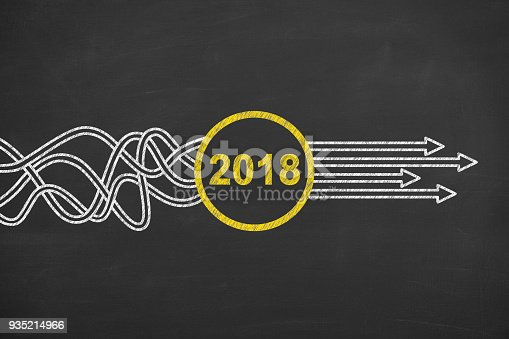 istock Solution Concepts New Year 2018 on Chalkboard 935214966