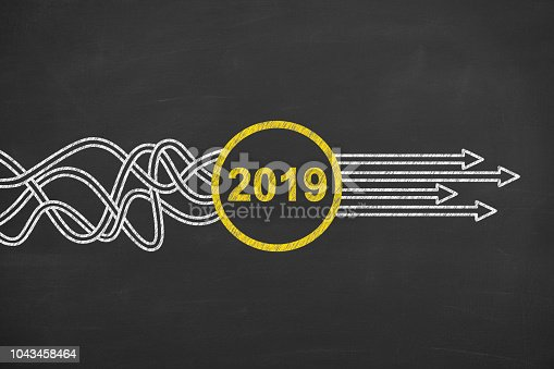 istock Solution Concepts New Year 2019 on Chalkboard 1043458464