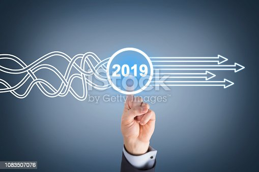 istock Solution Concepts New Year 2019 on Touch Screen 1083507076