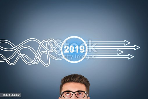 istock Solution Concepts New Year 2019 on Visual Screen 1069344968