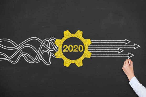 Lösungskonzepte Neujahr 2020 auf Tafelhintergrund – Foto