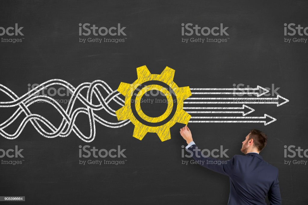 Solution Concepts on Chalkboard stock photo