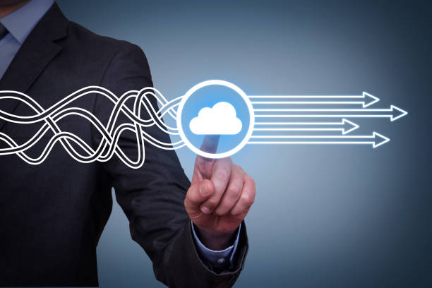 Solution Concepts with Cloud Computing on Touch Screen stock photo