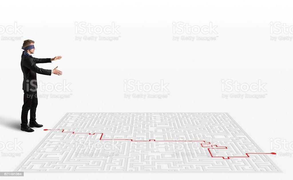 Solution pour le labyrinthe photo libre de droits