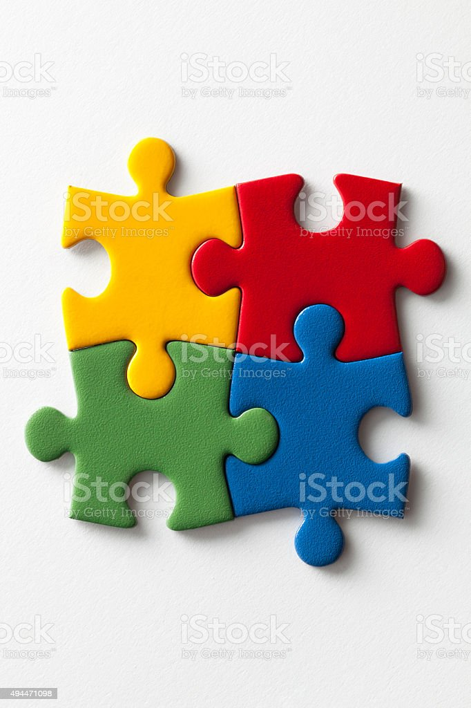 Solution. Jigsaw puzzle. stock photo