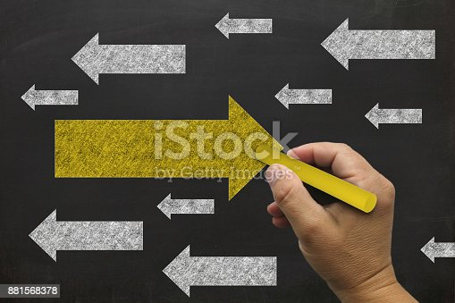 istock Solution problem blackboard drawing 881568378