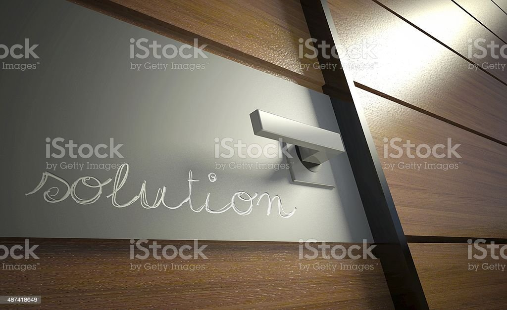 Solution scratched on office door, business concept stock photo