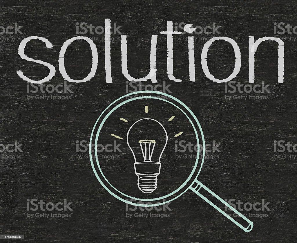 solution written on blackboard background high resolution royalty-free stock photo