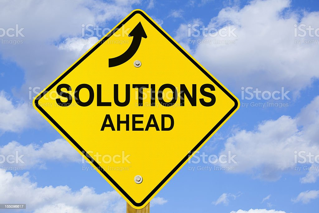 Solutions Ahead Road Sign royalty-free stock photo