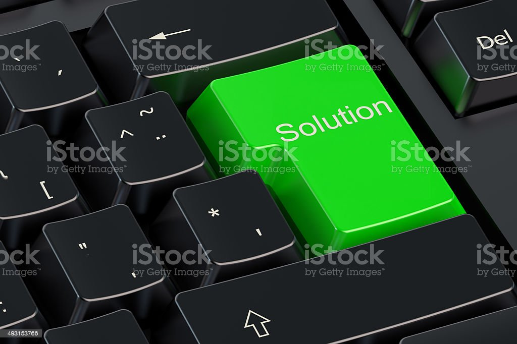 Solutions concept on green keyboard button stock photo