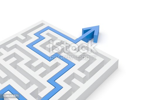 108688372 istock photo Solved maze puzzle close-up 108688371