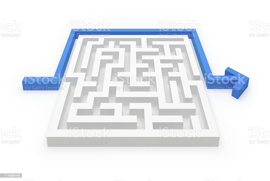 Solved maze puzzle royalty-free stock photo
