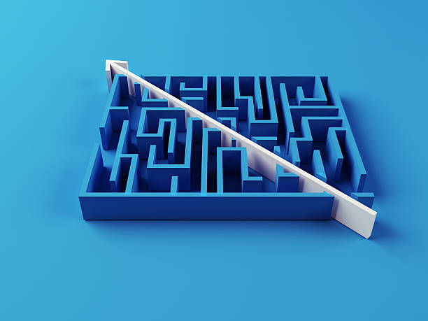 Solved Maze puzzle Solved Maze puzzle on blue background smooth stock pictures, royalty-free photos & images