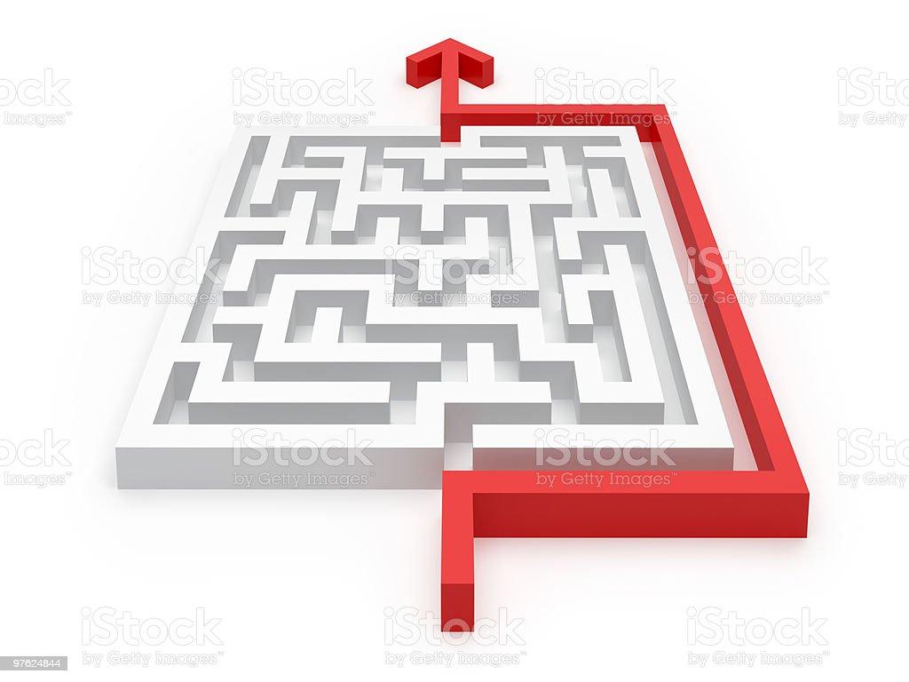 Solved Maze Puzzle royaltyfri bildbanksbilder