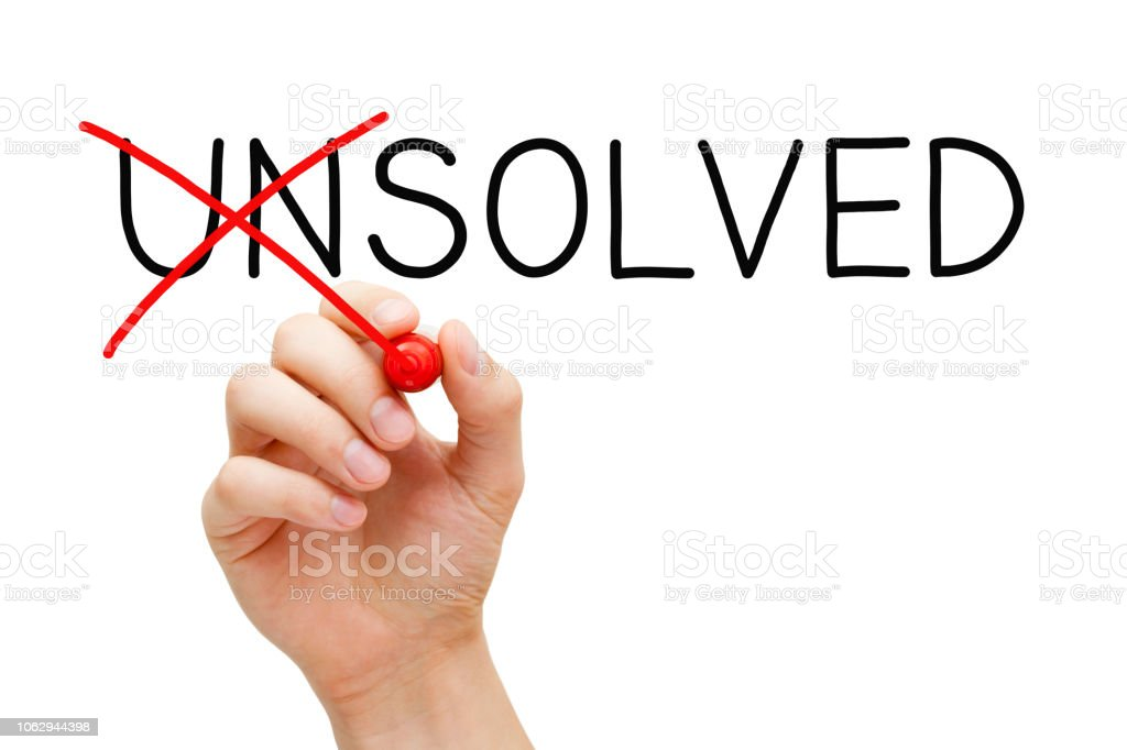 Solved Not Unsolved Solution Concept stock photo