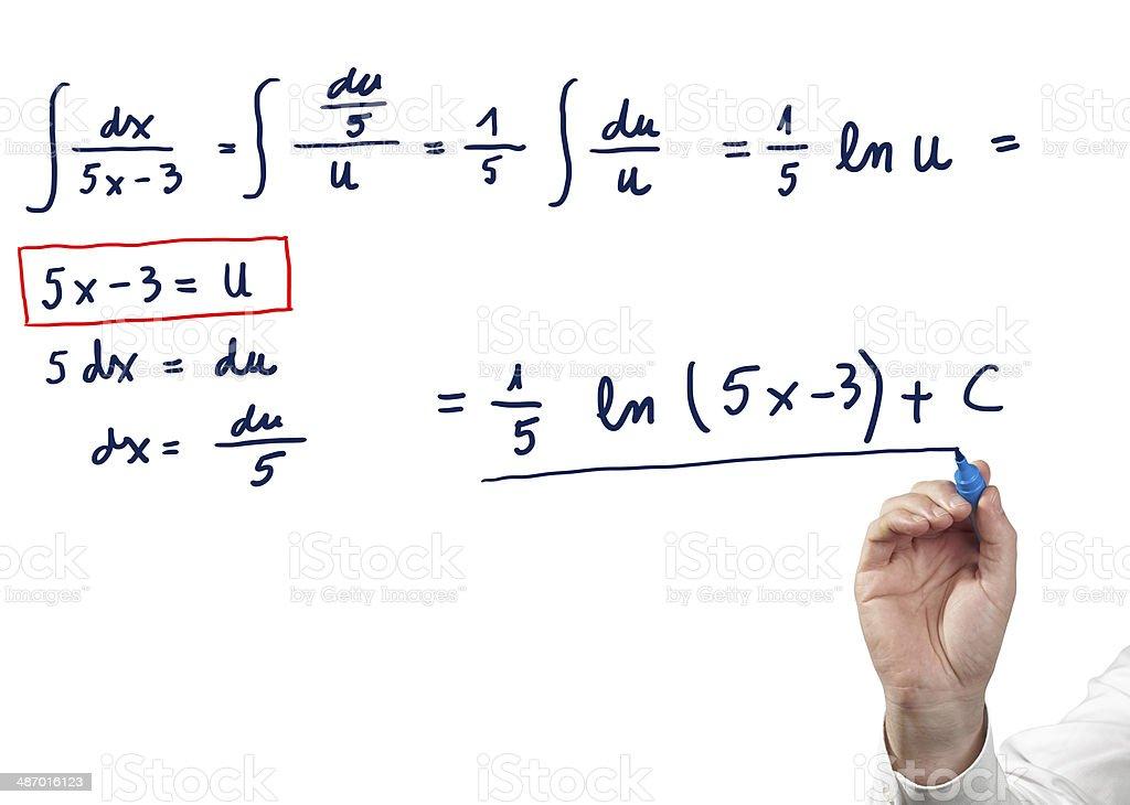 Solving integral equation. stock photo