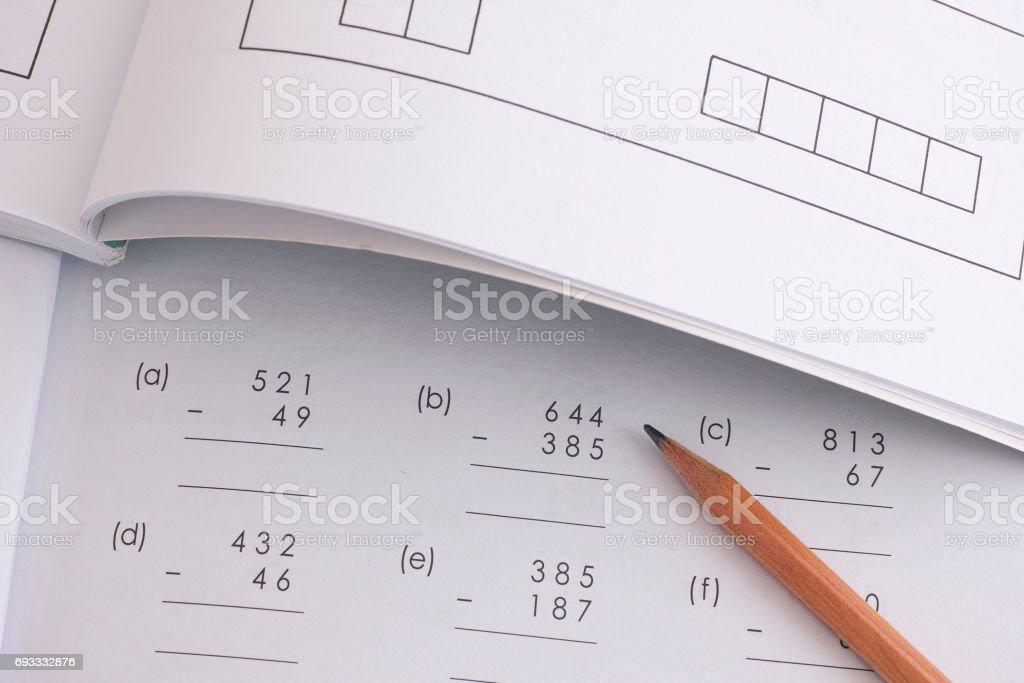 Solving Mathematical Problem stock photo